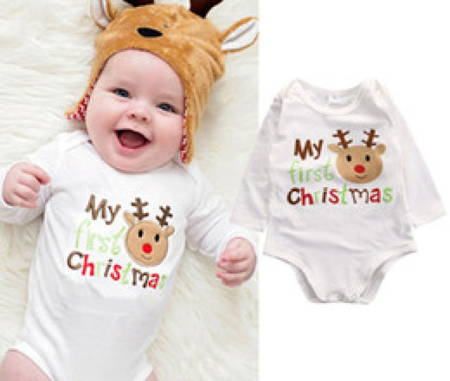 My First Christmas Cool Letters Printed Baby Bodysuit Top Cotton Newborn Infant Kids Boys Girls Romper O Neck Jumpsuit Clothes Outfits