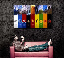 Single Unframed Game Of Thrones Flags Night Kingdoms Painting Oil On Canvas Giclee Wall Art Picture For Home Decorr