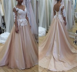 Satin Lace Long Sleeved Wedding Dresses Online Shopping   Satin Lace     Champagne Ball Gown Wedding Dresses Sheer Neck 3 4 Sleeved Tulle Satin Lace  Corset Lace Up Backless Wedding Gowns Plus Size Bridal Dress