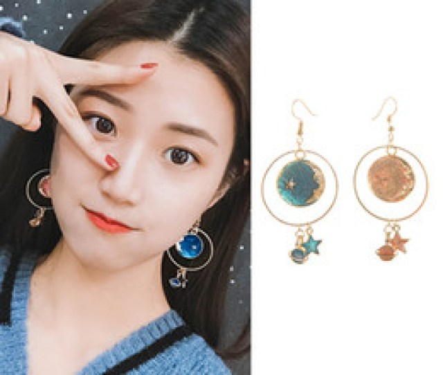 Hottest Fashion Dream Girls Heart Geometric Round Circles Planet Star Moon Long Statement Drop Earrings For Women Jewelry
