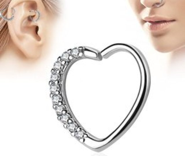 Wholesales Heart Shaped Zicron Silver Plated Nose Rings Body Piercing Jewelry Designer Jewelry Open Hoop Earrings Studs Non Piercing Rings