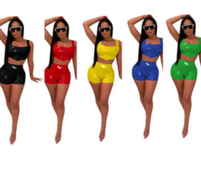 American Necked Girls Sexy Online Shopping Summer Women Pu Leather Tank Crop Top Shorts Piece