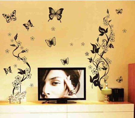 Living Room Vinyl Wall Decal Sticker Flower Vines Butterfly Mural     Living Room Vinyl Wall decal sticker Flower vines Butterfly Mural Decor for  the beautiful house Accessories