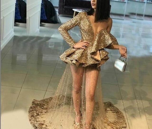 African Mermaid Sheer Gold Sequins Long Sleeve Sexy Prom