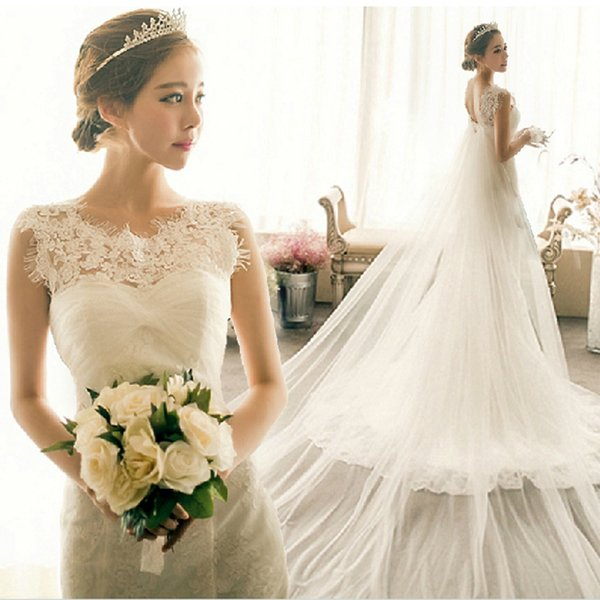 ᗐModest Lace Wedding Dresses Mermaid Jewel Sleeveless Eyelash Lace ...