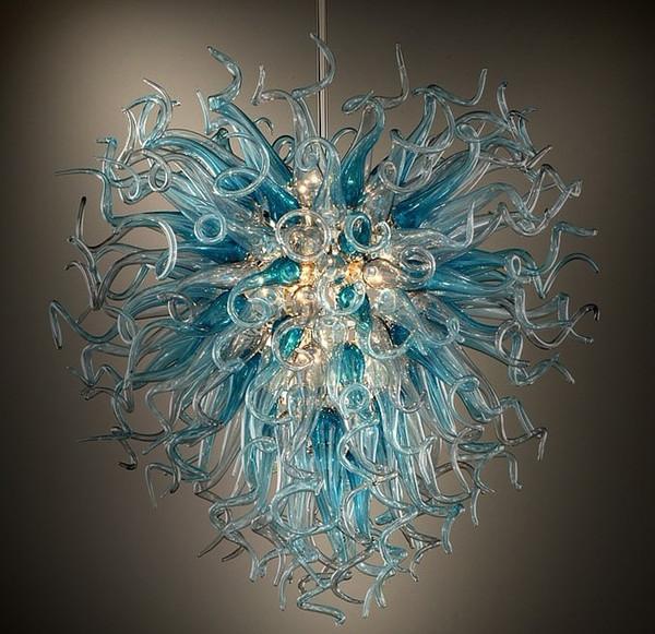 Longree Fancy Glass Pendant Lamp Blue Heart Shape