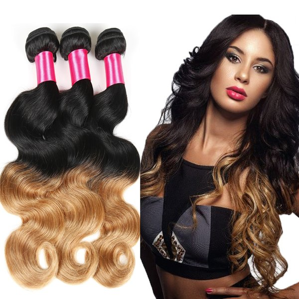 Ombre Hair Extensions Brazilian Virgin Hair Body Wave 4pcs Two