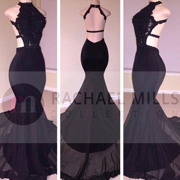 ᗖModest Black Mermaid Prom Dresses Long 2017 Open Back Formal ...