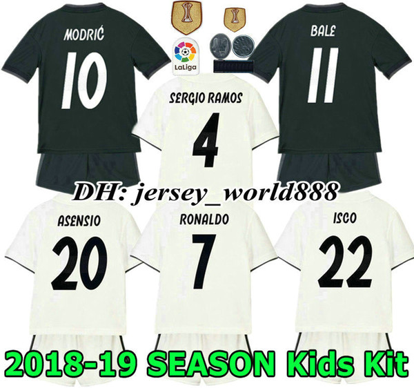 877e1216 ... discount code for 18 19 kids real madrid jersey home away soccer kits  adult ronaldo asensio