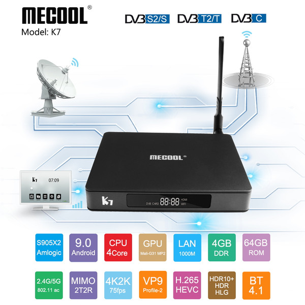 Mecool K7 Android 9.0 Smart TV Box DVB T2/S2/C Amlogic S905X2