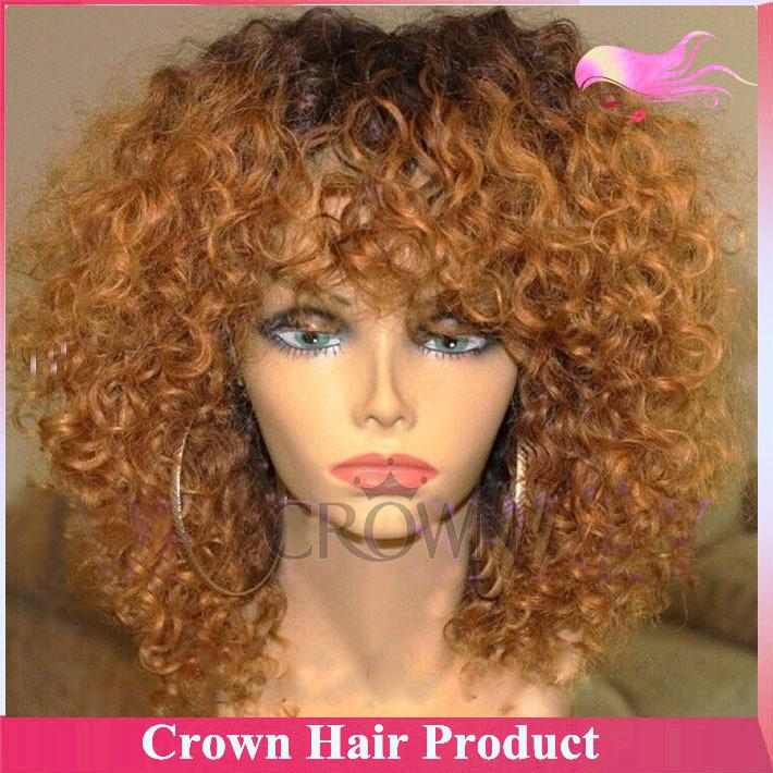 Wholesale Short Ombre Human Hair Wig Blonde Two Tone Bob