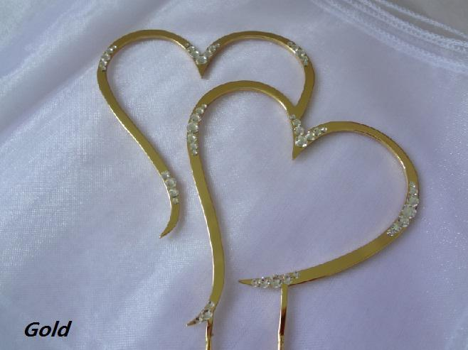Solid MetalPartial Swarovski 45 Double Heart Gold