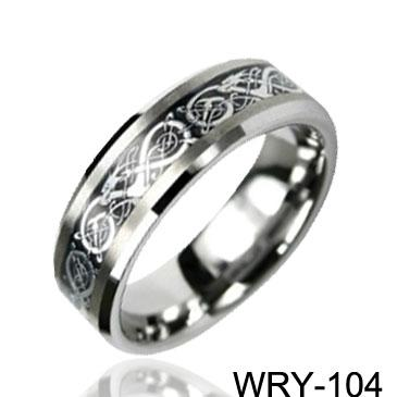 Dragon Inlaid Carbide Tungsten Rings Silver Inlaid Ring