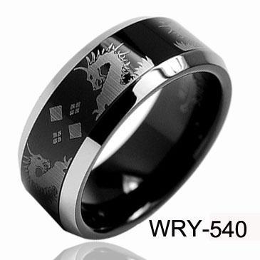 8mm Real Man Tungsten Rings Double Dragon LaserampBlack Ring