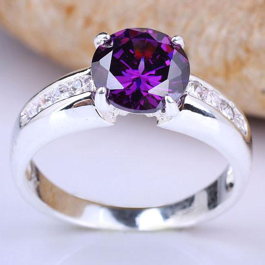 Women Solitaire Silver Ring 8mm Stone Purple Amethyst Cool