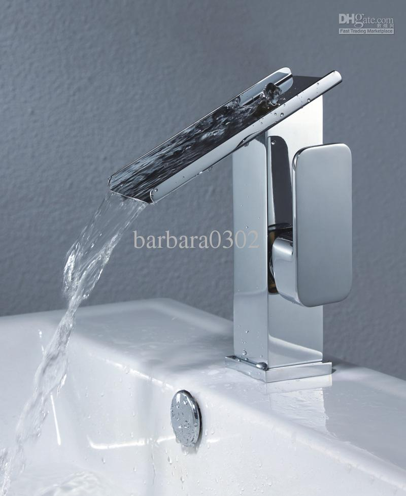 wholesale single handle chrome waterfall bathroom sink faucet by