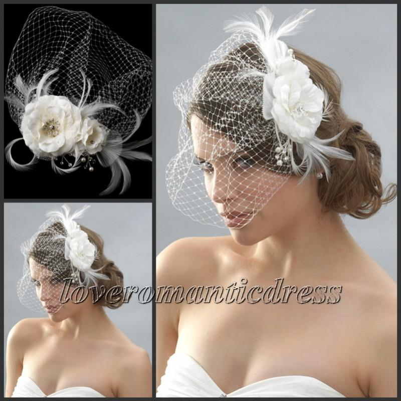 cheap beaded feather hair pieces wedding bridal hat birdcage veil white ivory fascinator designer hats for women english wedding hats from loveromanticdress