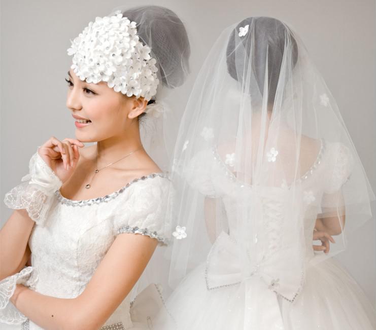 Wedding Bridal Dress Gown Mantilla Veil With Flower