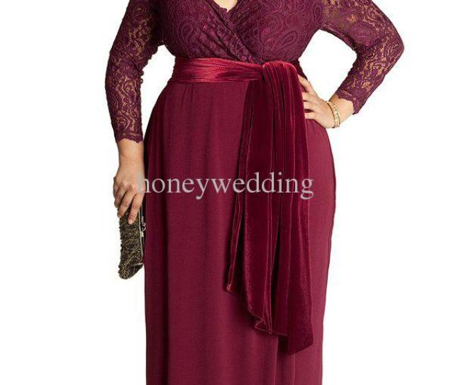 New Elegant Long Sleeve Prom Dresses V Neck Plus Size Mother Off Bride Dresses For Womens Wedding Party Lace Formal Evening Gowns Mother Of The Bride