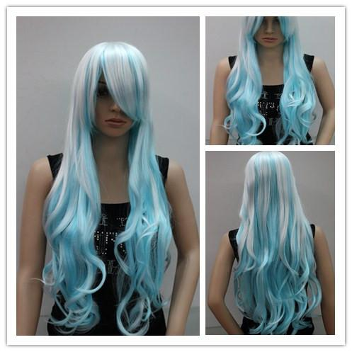 long curly hair white and light blue 24 costume wig cosplay outfits blue wigs from lili614 13