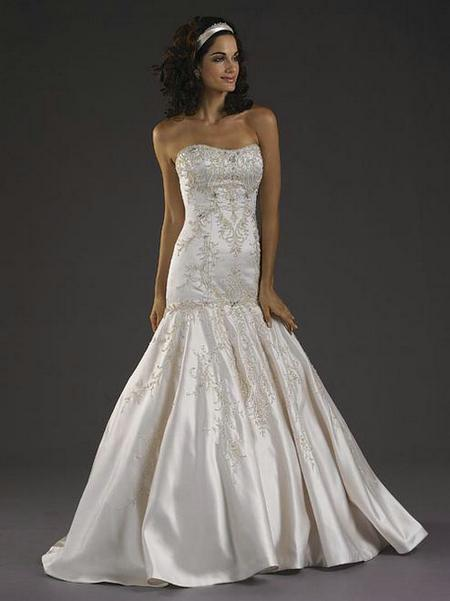 Cheap Satin Scoop Trumpet Wedding Dress Beaded Embroidered