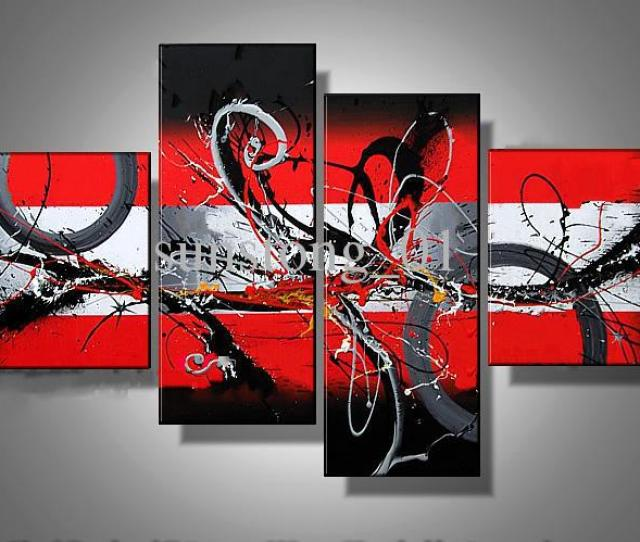 China Red Abstract Art Four Group Oil Paintings Museum Quality Painting Popular Handmade Paining From Sunstong_ Dhgate Com