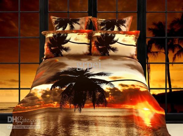 Gold Palm Tree Sunset Bedding Comforter Set Sets Queen