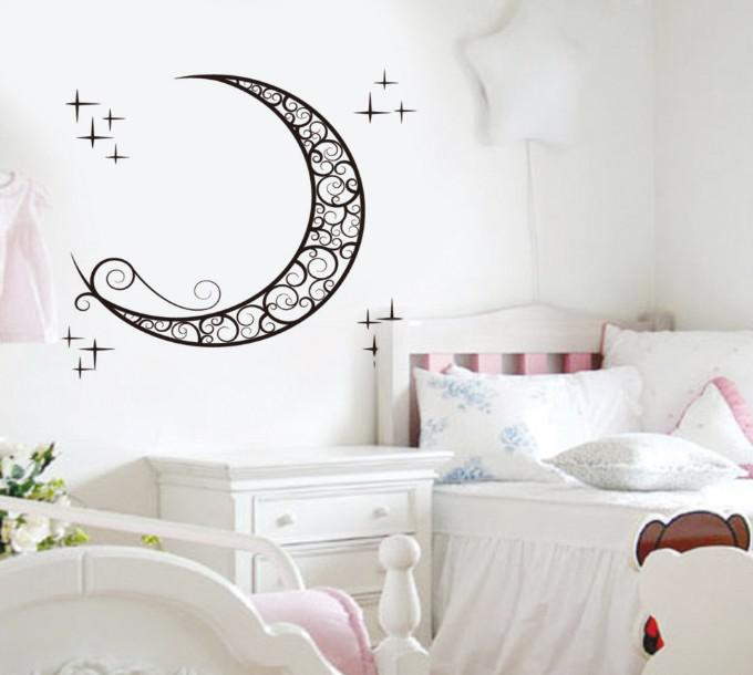 Removable Moon Wall Stickers Kids Room Wall Stickers ... on Room Decor Stickers id=45074