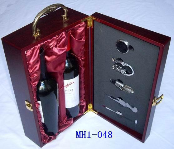 Wholesale Christmas Red Wine Wooden Box Gift Leather Box