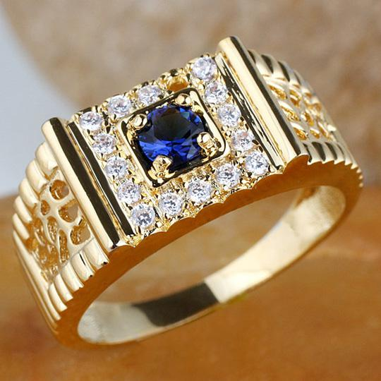 2019 Men Gold Plated Ring With 45mm Round Simulated Blue
