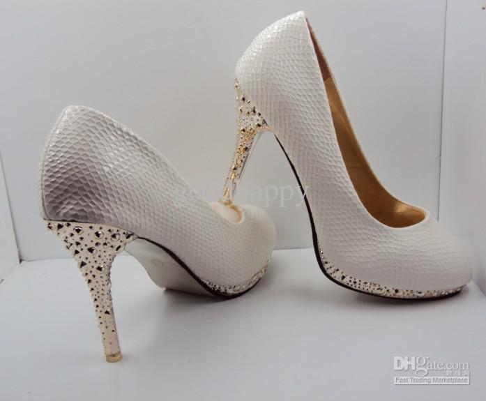 Crazy-selling White Color SHOES Wedding Dress shoe Women's Shoes High-Heels shoes Ladies Party shoes