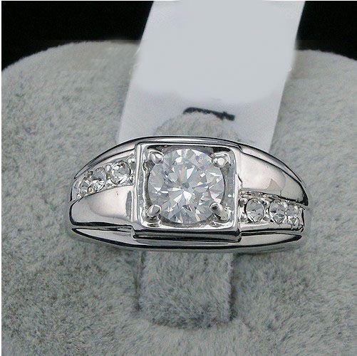 New Fashion 2016 Swarovski Crystal Men Ring White 18k