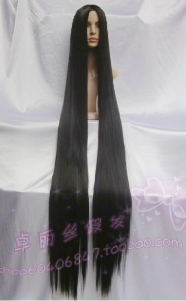Popular New Extra Long Black Cosplay Wig 60 Inch High Temp