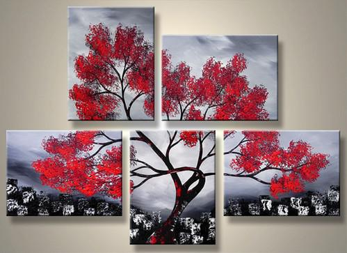 Red Tree Decorative Painting Art Home Decor Landscape Oil Paintings Group Handmade Online With 131 15 Piece On