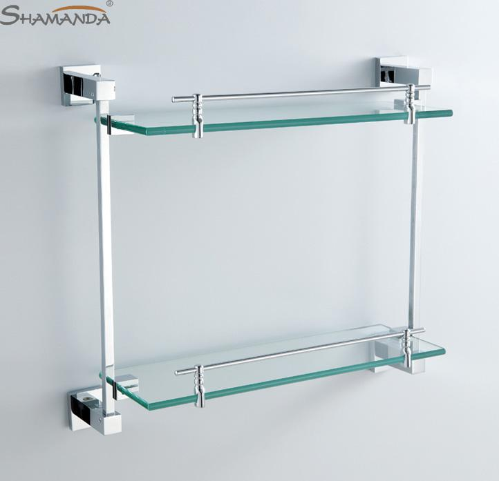 2018 double bathroom shelf glass shelf brass made with chrome