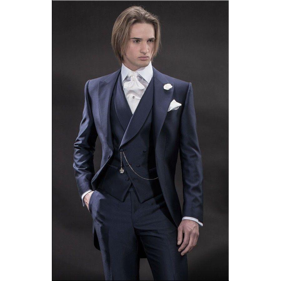 new design morning style navy blue groom tuxedos groomsmen men s wedding suits best man suits jacket pants vest tie bm 921 beach wedding suits clothing men