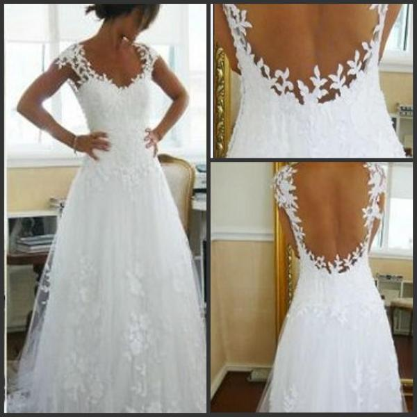 Discount 2016 Nicest Wedding Dress Ever A Line V Neck Sheer Panel     Discount 2016 Nicest Wedding Dress Ever A Line V Neck Sheer Panel Back  Court Train Bridal Gowns Sexy White Wedding Dresses Scoop Backless Bride  Dress