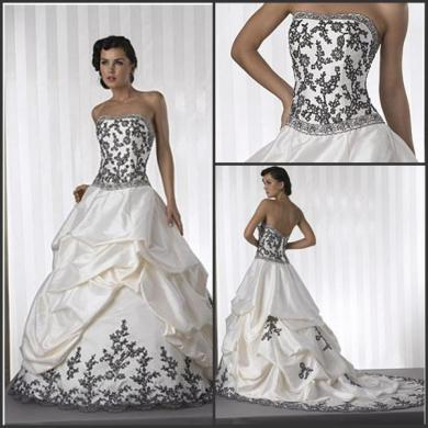 Discount 72014 A Line Wedding Dresses Strapless White Satin Black     Discount 72014 A Line Wedding Dresses Strapless White Satin Black Lace  Applique Beads Color Accent Bridal Wedding Gown W47 The Knot Wedding Dresses  Tidebuy
