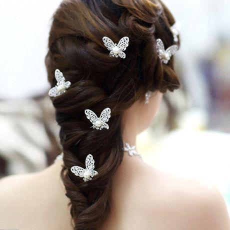 Shinning Butterfly Hair Clips MINI Rhinestone Pearl Hair