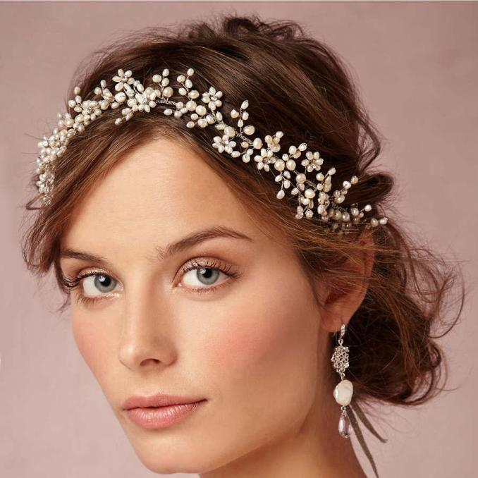 vintage wax flower crowns bridal tiaras delicate forehead wrap 1920s-inspired adornment hair wedding hand hair combs with pearls crystals