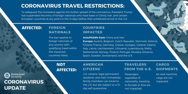 Coronavirus Travel Restrictions: To safeguard the homeland against the further spread of the coronavirus, President Trump has suspended the entry of foreign nationals who have been in China, Iran, and certain European countries at any point in the 14 days before their scheduled arrival to the US.   Affected: Foreign Nationals. The ban applies to foreign nationals of any country with qualifying travel within the impacted countries listed.   Countries impacted: Asia/Middle East: China and Iran. Europe: Austria, Belgium, Czech Republic, Denmark, Estonia, Finland, France, Germany, Greece, Hungary, Iceland, Ireland, Italy, Latvia, Liechtenstein, Lithuania, Luxembourg, Malta, Netherlands, Norway, Poland, Portugal, Slovakia, Slovenia, Spain, Sweden, Switzerland, and the U.K.   Not affected: American Citizens: U.S. citizens, legal permanent residents, and their immediate family members can travel to the US but are subject to a 14-day self-quarantine; Travelers from the US: Passengers, regardless of nationality, traveling to Europe or Asia are not impacted; Cargo Shipments: Air and maritime cargo are not impacted.