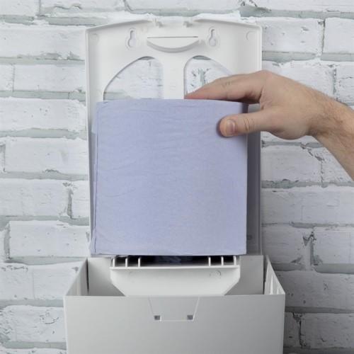 jantex-centrefeed-handdoekroldispenser-blauw-voorbeeld