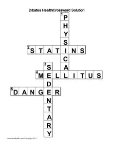 Diabetes Health Crossword Puzzle Solution