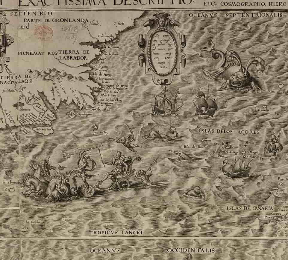 Ο πρώτος χάρτης της Αμερικής αποκαλύπτει ένα τοπίο γεμάτο γοργόνες, γίγαντες, θαλάσσια φίδια και κανιβάλους