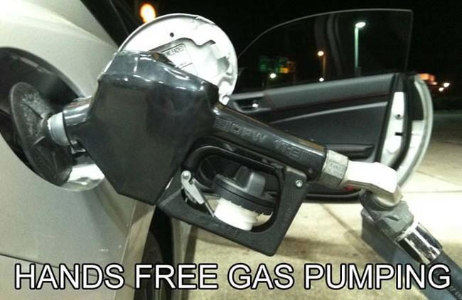 Now you can play with your phone while you pump gas.