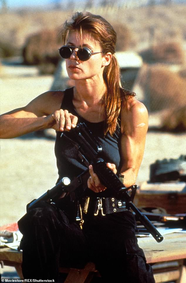Stunner: The star reappeared in the second instalment of the film as a reprogrammed Terminator becomes her comrade to help protect her son - they had previously been enemies