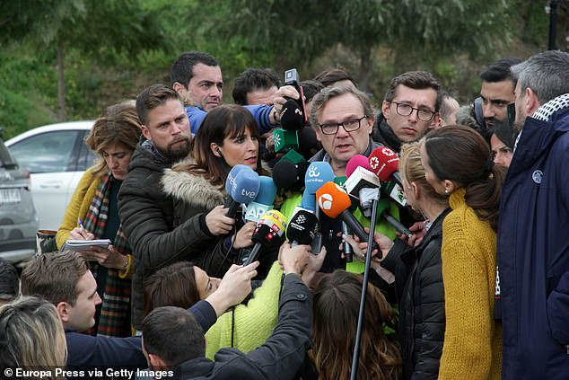 Engineer Angel Garcia, in charge of the rescue operation, talks to the press about the building of a vertical tunnel to reach toddler Julen Rosello