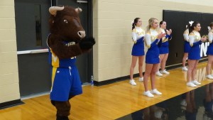 Brutus the Buffalo (Tanner Stockton) helps the CHS cheerleaders on the sideline of the game against Stone Memorial High School in Crossville, on Feb. 6.
