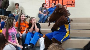 Stockton interacts with spectators during half time at the game against Stone Memorial High School in Crossville, on Feb. 6.