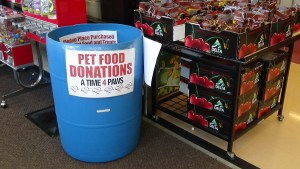 Look for the blue barrel at Food City to donate food and supplies to the AT4P AniMeals program. (Photo by Diahan Krahulek)